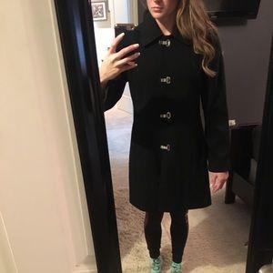 Women's black London fog trench coat